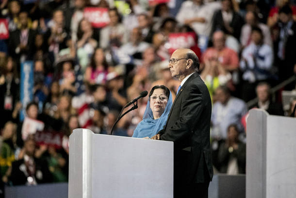 FILE -- Khizr Khan, with his wife, Ghazala, speaks at the Democratic National Convention in Philadelphia, July 28, 2016. Donald Trump reeled on Sunday amid a sustained campaign of criticism by the Khans, parents of a Muslim American soldier killed by a suicide bomber in Iraq, and a rising outcry within his own party over his rough and racially charged dismissal of the couple. (Sam Hodgson/The New York Times)